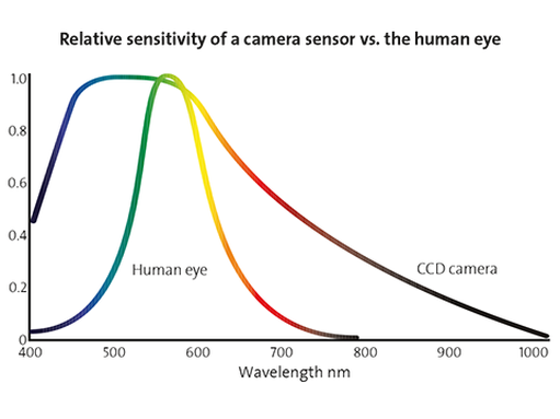 Relative sensitivity of a camera sensor vs. the human eye