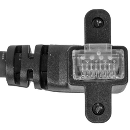 CEI 9, 90° angle RJ45, exit LEFT vertical, with screws, 22.5 mm connector depth