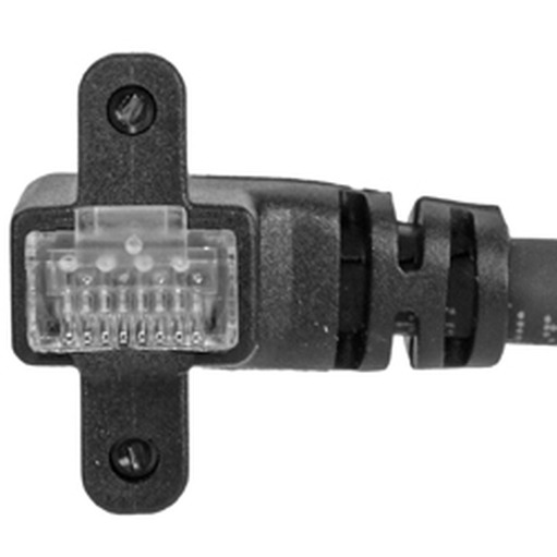 CEI 10, 90° angle RJ45, exit RIGHT vertical, with screws, 22.5 mm connector depth