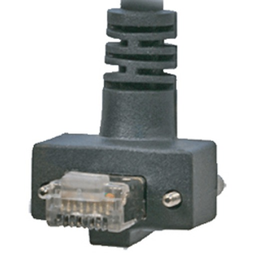 CEI 7, 90° angle RJ45, exit UP, with screws, 21 mm Connector depth