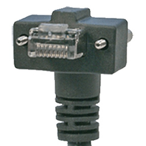 CEI 8, 90° angle RJ45, exit DOWN, with screws, 21 mm connector depth