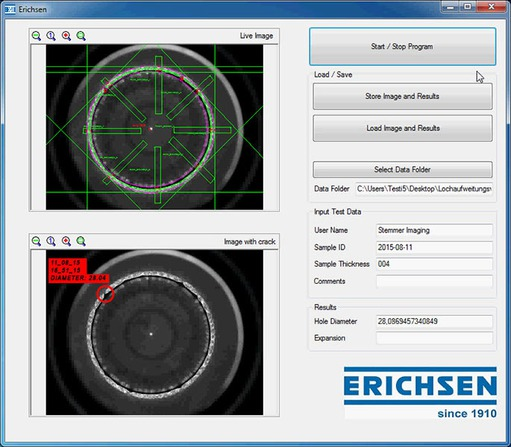 Erichsen GmbH: Detection of a defect sheet metal by the software