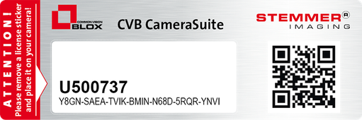 Example of a serial number with the licence key for a USB3 Vision camera